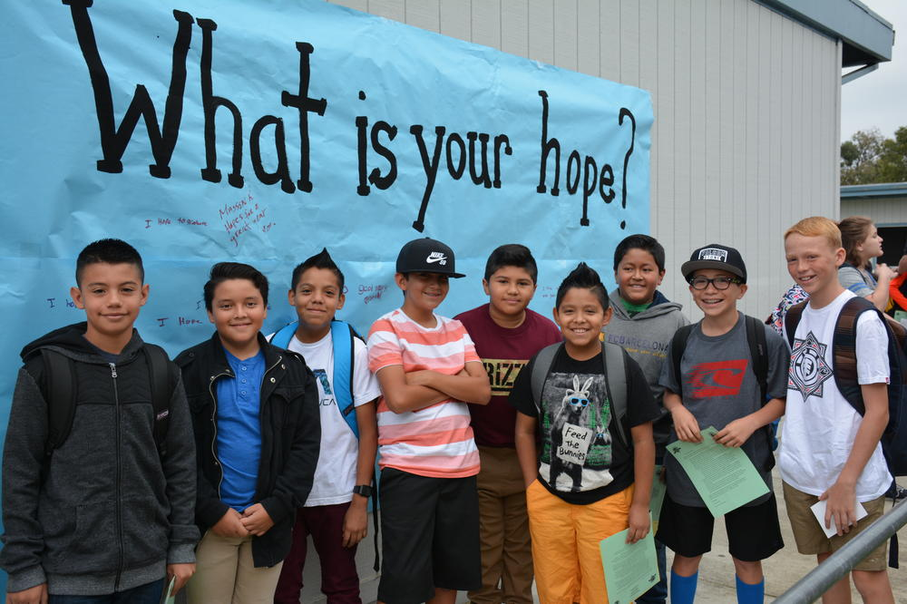 photo of students beside a banner reading  what is your hope?